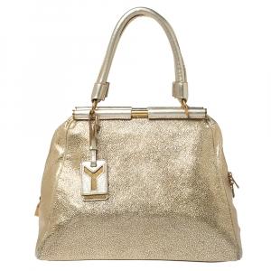 Saint Laurent Gold Textured Leather Medium Majorelle Tote