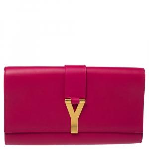 Saint Laurent Pink Leather Y-Ligne Clutch