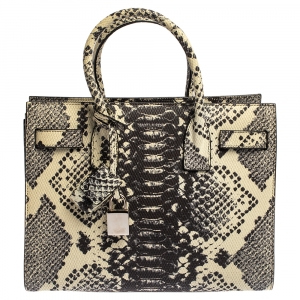 Saint Laurent Black/White Python Embossed Leather Baby Classic Sac De Jour Tote