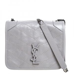 Saint Laurent Crinkled Leather Mini Niki Chain Shoulder Bag