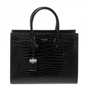 Saint Laurent Black Croc Embossed Leather Baby Classic Sac De Jour Tote