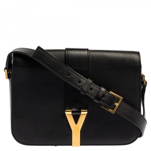 Saint Laurent Black Leather Ligne Y Flap Shoulder Bag