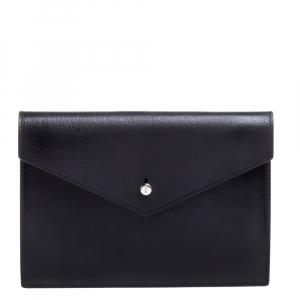 Saint Laurent Black Leather Envelope Flap Slim Pouch