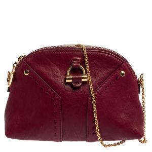 Saint Laurent Paris Burgundy Leather  Muse Chain Bag