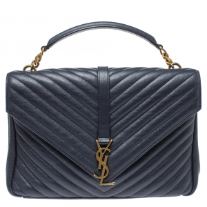 Saint Laurent Navy Blue Matelasse Leather Large College Top Handle Bag