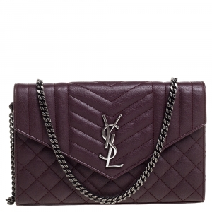 Saint Laurent Burgundy Tri Quilted Leather Monogram Envelope Wallet on Chain