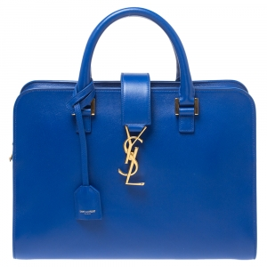Saint Laurent Blue Leather Small Cabas Tote
