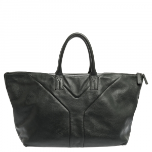 Saint Laurent Green Leather Sac Hamptons Weekender Bag