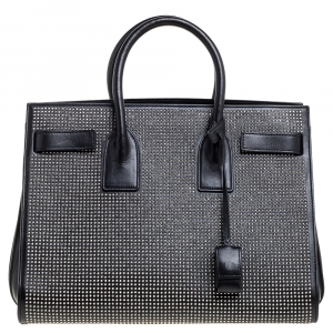 Saint Laurent Black Studded Leather Small Classic Sac De Jour Tote