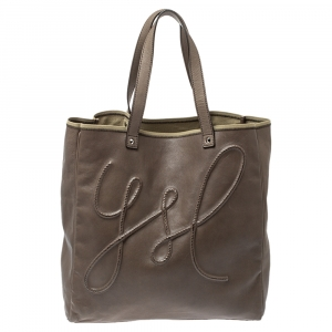 Saint Laurent Khaki Leather Shopper Tote