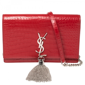 Saint Laurent Red Crocodile Embossed Leather Kate Wallet on Chain