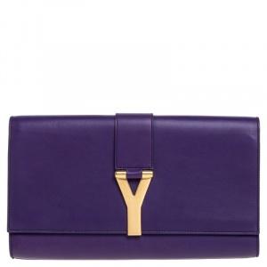 Saint Laurent Purple Leather Large Chyc Clutch