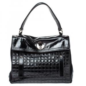 Saint Laurent Black Patent Leather Grid Muse Two Top Handle Bag