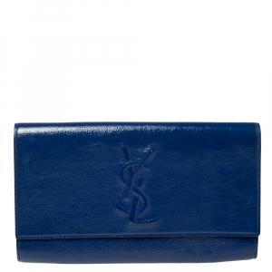 Saint Laurent Blue Patent Leather Belle De Jour Flap Clutch