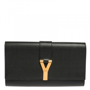 Saint Laurent Black Texured Leather Y Line Clutch