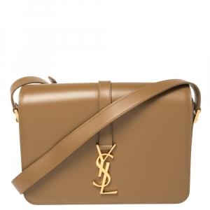 Saint Laurent Tan Leather Medium Monogram Université Flap Shoulder Bag