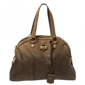 Saint Laurent Oilve Green Leather Large Muse Bag