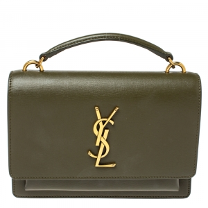 Saint Laurent Olive Green Leather Small Sunset Shoulder Bag