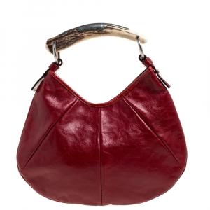Saint Laurent Red Leather Mini Mombasa Hobo