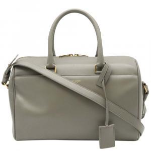 Saint Laurent Paris Grey Leather  Duffle 3 Satchels