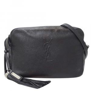 Saint Laurent Paris Black Leather  Lou Shoulder Bags