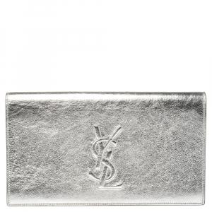 Saint Laurent Metallic Silver Leather Belle De Jour Clutch