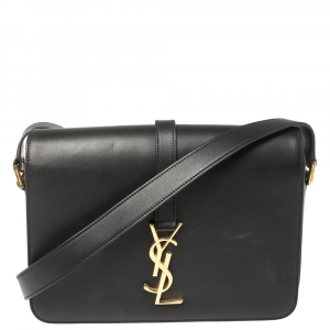 Saint Laurent Black Leather Medium Monogram Université Flap Shoulder Bag