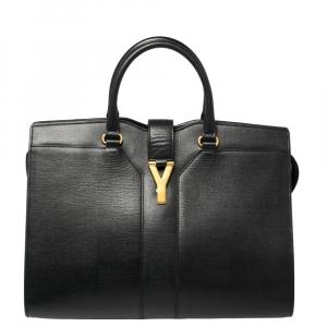 Saint Laurent Black Textured Leather Large Cabas Chyc Tote