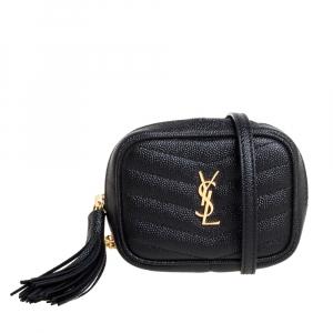 Saint Laurent Black Chevron Leather Baby Lou Bag