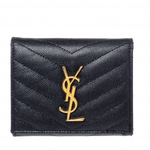 Saint Laurent Black Matelasse Leather Monogram Trifold Wallet