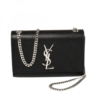 Saint Laurent Black Grain Leather Small Kate Shoulder Bag