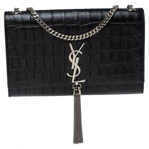 Saint Laurent Black Croc Embossed Leather Kate Monogram Shoulder Bag