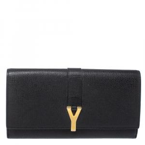 Saint Laurent Black Leather Y Ligne Clutch