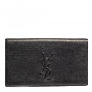 Saint Laurent Black Leather Belle De Jour Flap Clutch
