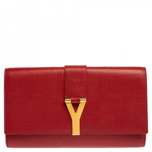 Saint Laurent Red Leather Large Chyc Clutch