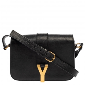 Saint Laurent Black Leather Medium Chyc Flap Bag