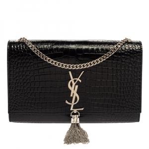 Saint Laurent Black Croc Embossed Leather Medium Kate Tassel Shoulder Bag
