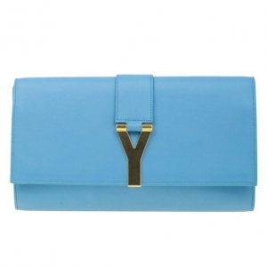 Saint Laurent Paris Blue Classic Y-Line Clutch Bag