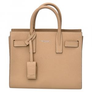 Saint Laurent Beige Leather Nano Sac de Jour Bag