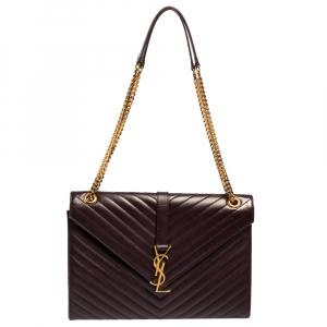 Saint Laurent Burgundy Chevron Quilted Leather Monogram Envelope Shoulder Bag