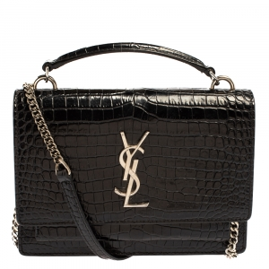 Saint Laurent Black Croc Embossed Leather Small Sunset Shoulder Bag