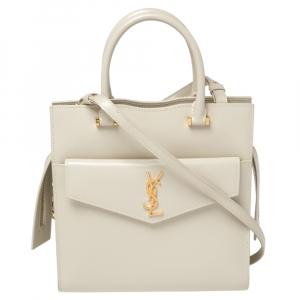 حقيبة يد سان لوران ابتاون صغيرة جلد أبيض لؤلؤي