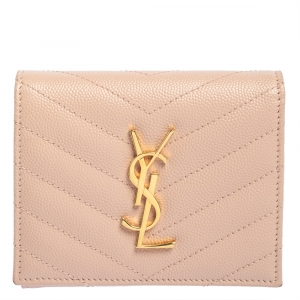 Saint Laurent Nude Pink Matelassé Leather Monogram Trifold Wallet