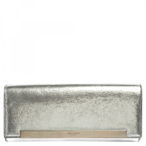 Saint Laurent Metallic Silver Lizard Embossed Leather Lutetia Clutch