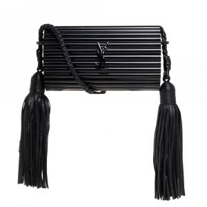 Saint Laurent Paris Black Plexiglass Opium Tassel Minaudiere Bag