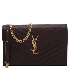 Saint Laurent Maroon Matelasse Leather Monogram Envelope Wallet on Chain Bag
