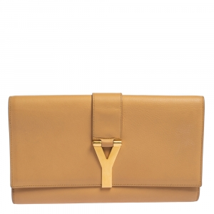 Saint Laurent Beige Leather Y-Ligne Clutch