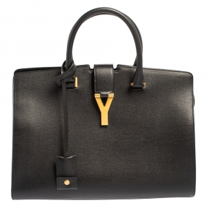 Saint Laurent Black Textured Leather Medium Y Cabas Chyc Tote