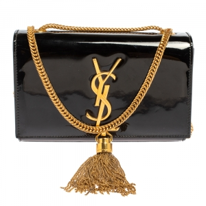 Saint Laurent Black Patent Leather Small Kate Tassel Crossbody Bag