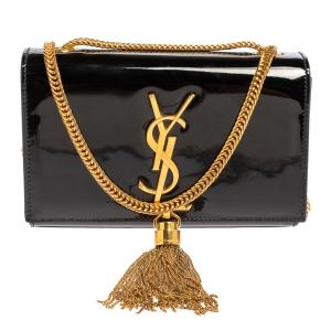 حقيبة كروس سان لوران باريس شراشيب كيت صغيرة جلد لامعة سوداء